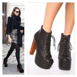 Jeffrey Campbell Black Leather Lita Boots
